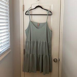 H&M Sage green tiered dress